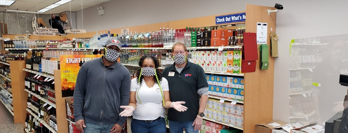 Virginia ABC store associates in masks during COVID-19