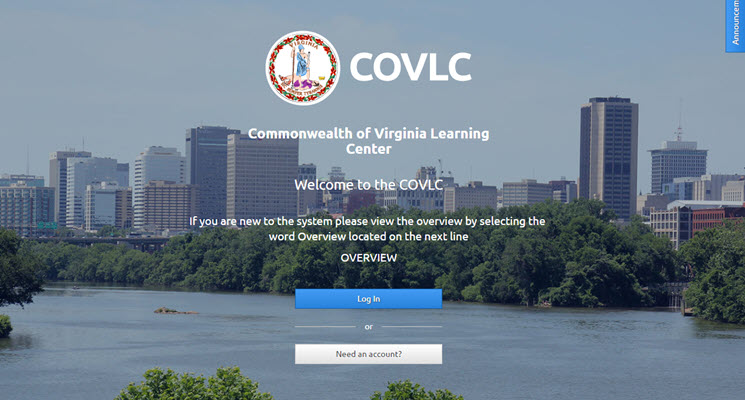 Commonwealth of Virginia Learning Center welcome screen