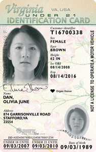 Virginia ID card, under 21
