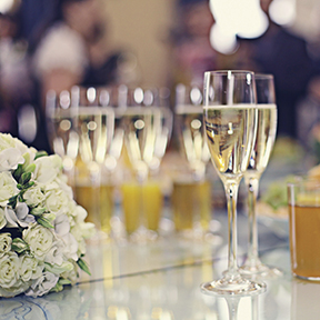 Champagne glasses at a wedding event