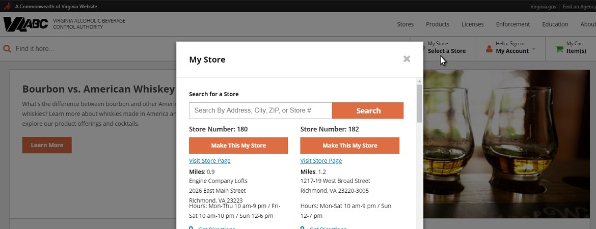 Screenshot of store selection